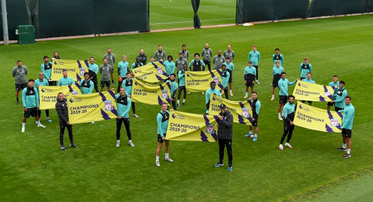 Liverpool presented with 'Champions Banners' at Melwood